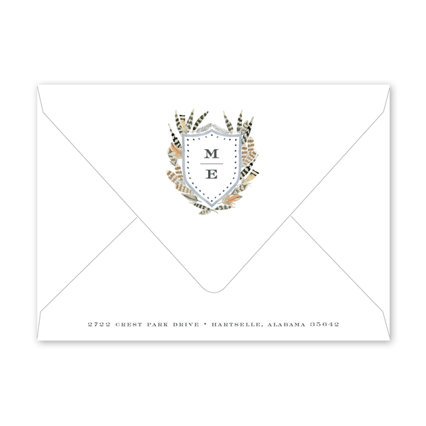 Feather Crest Border Dinner/Party Envelopes