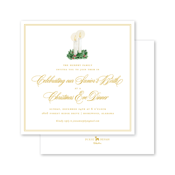 Christmas Candles Square Invitation
