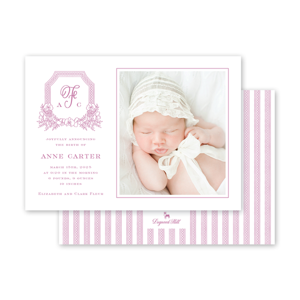 Dolly Blooms Crest Landscape Birth Announcement