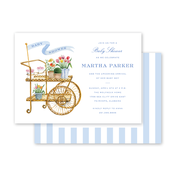 Flower Cart Blue Baby Shower