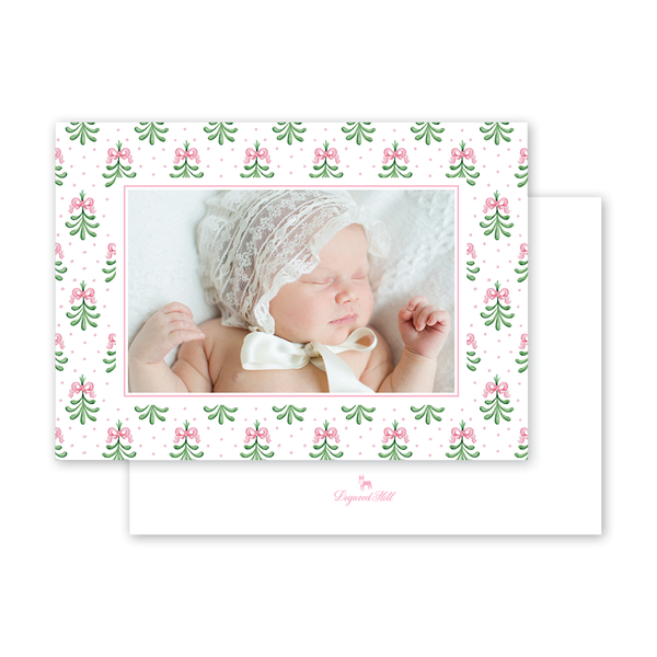 Mistleberry Pink Birth Announcement Landscape