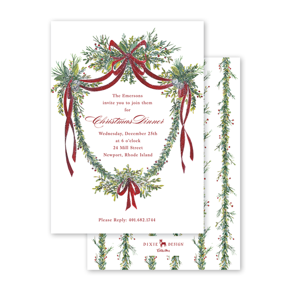 Crimson Jingle Crest Garland Invitation