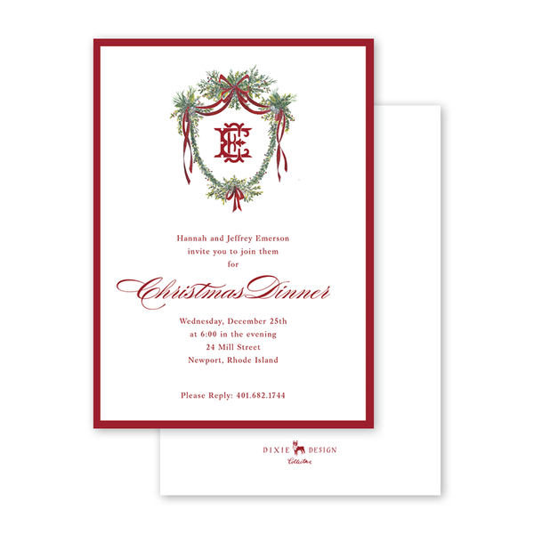 Crimson Jingle Crest Invitation