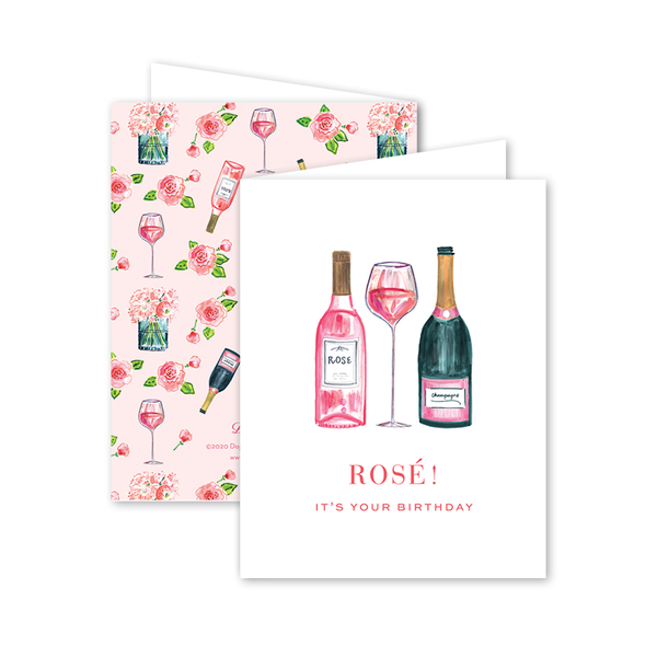 Champagne and Rosé Birthday Card