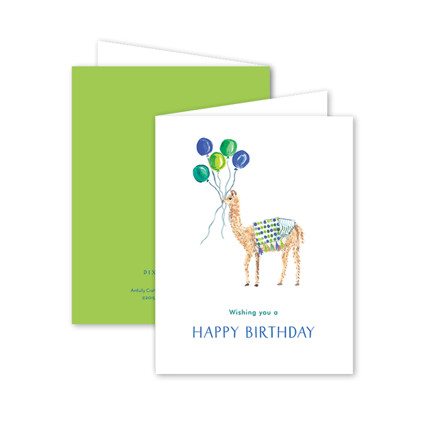 Party Llama Blue Birthday Card