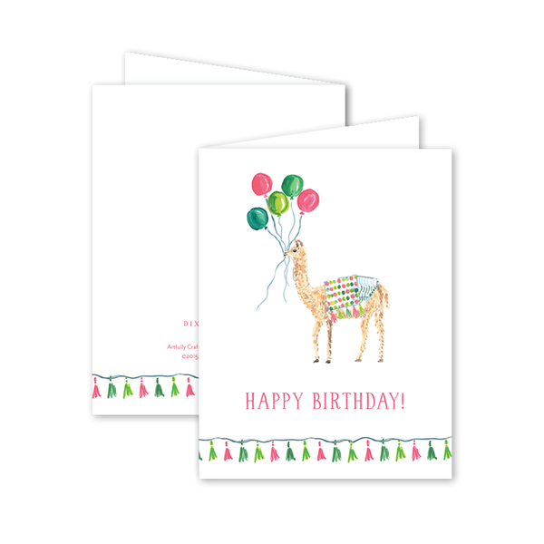 Party Llama Pink Birthday Card