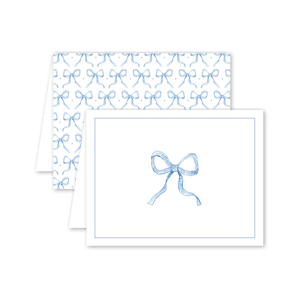 Blue Stripe Bow Card