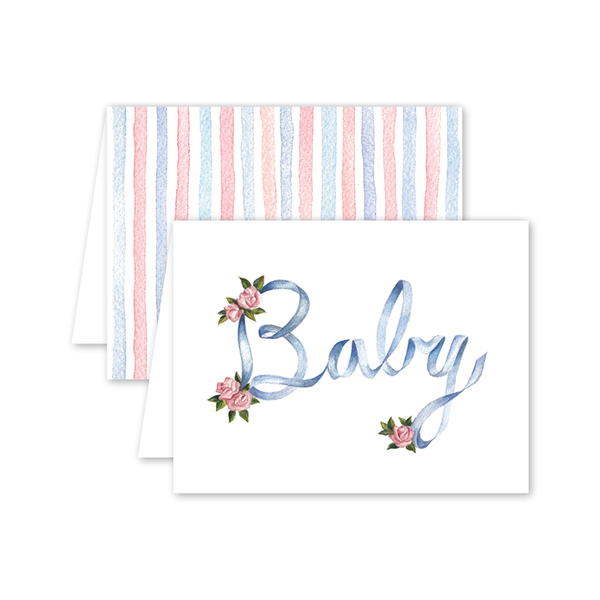 Ribbons and Roses Baby Card