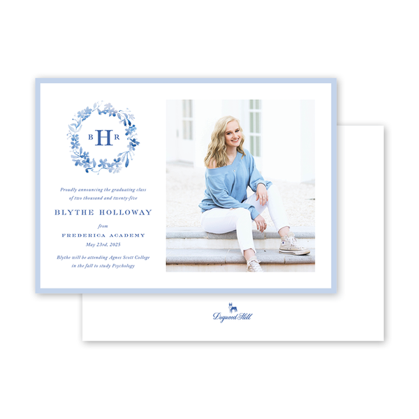 Forget Me Nots Blue Graduation Landscape Photo Announcement