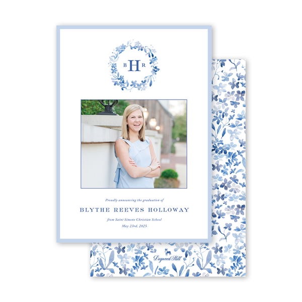 Forget Me Nots Blue Graduation Photo Announcement