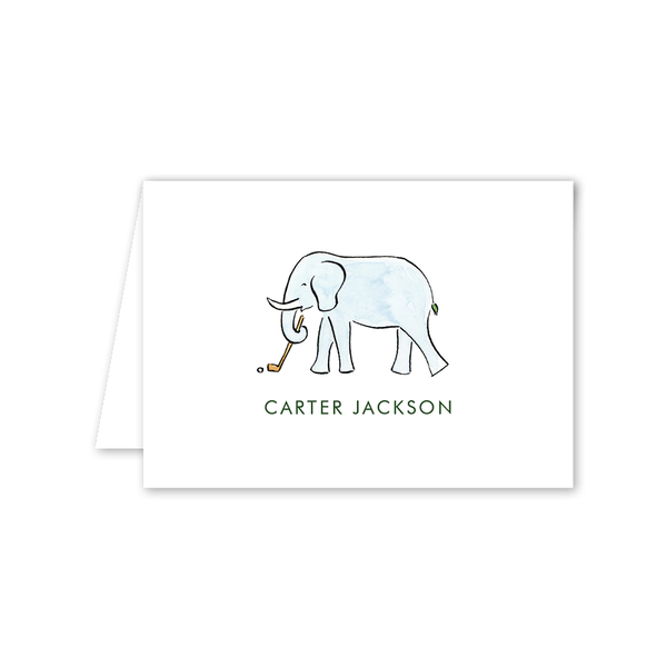 Golf Elephant Folded Notecard