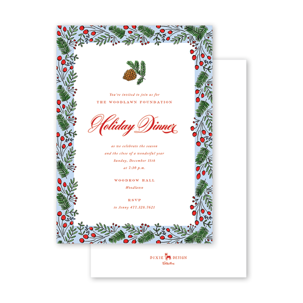 Holly Crest Border Invitation