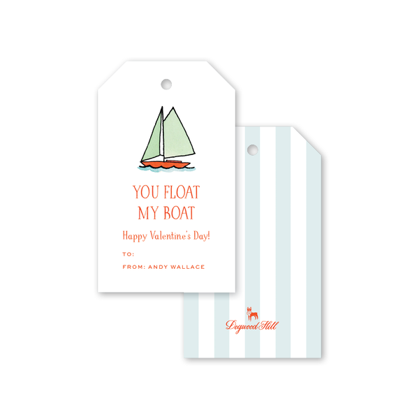Beach Crest Valentine Boat Gift Tags