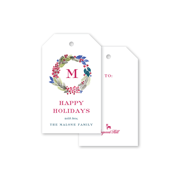 Colorful Wreaths Gift Tags