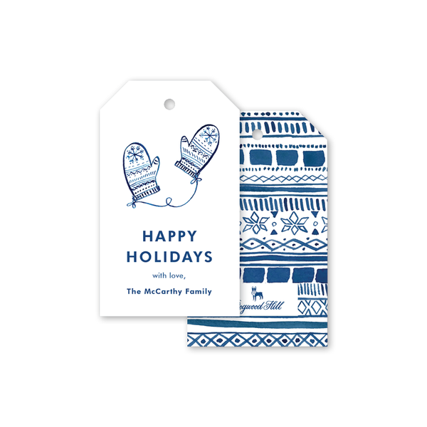 Festive Fashion Blue Mittens Gift Tags