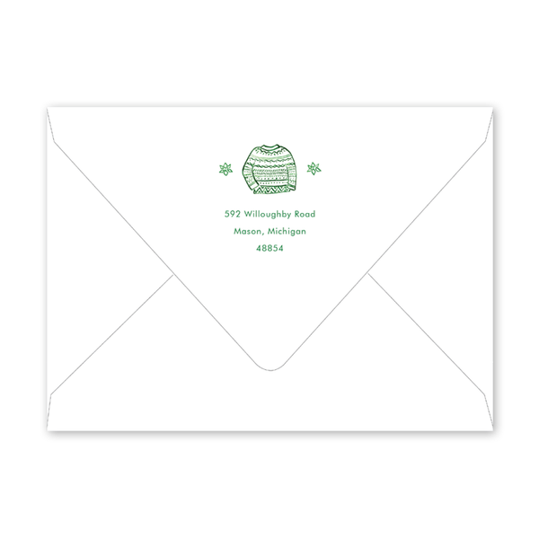 Festive Fashion Green Sweater Party Envelopes