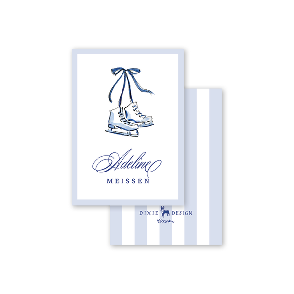 Blue Christmas Skates Calling Card