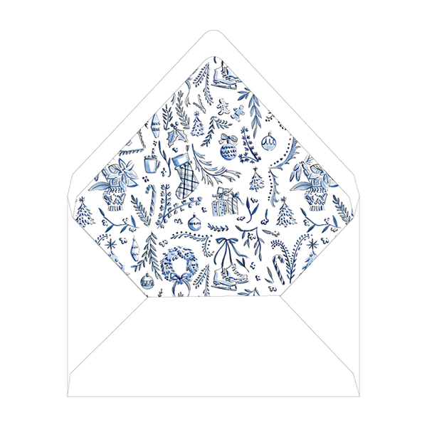Blue Christmas Chinoiserie Invitation Liner