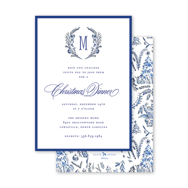 Blue Christmas Crest Invitation