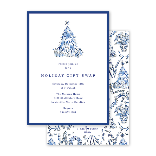 Blue Christmas Invitation