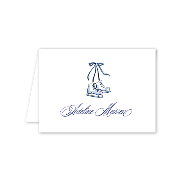 Blue Christmas Skates Folded Notecard