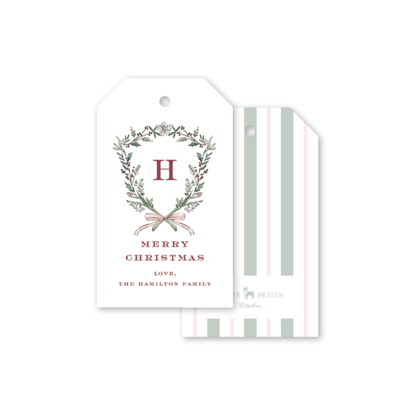Blush Blossom Crest Christmas Gift Tags
