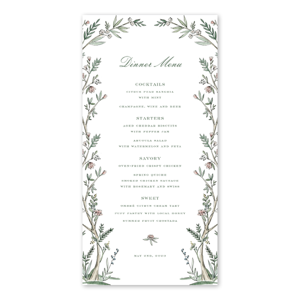 Blush Blossom Dinner Menu