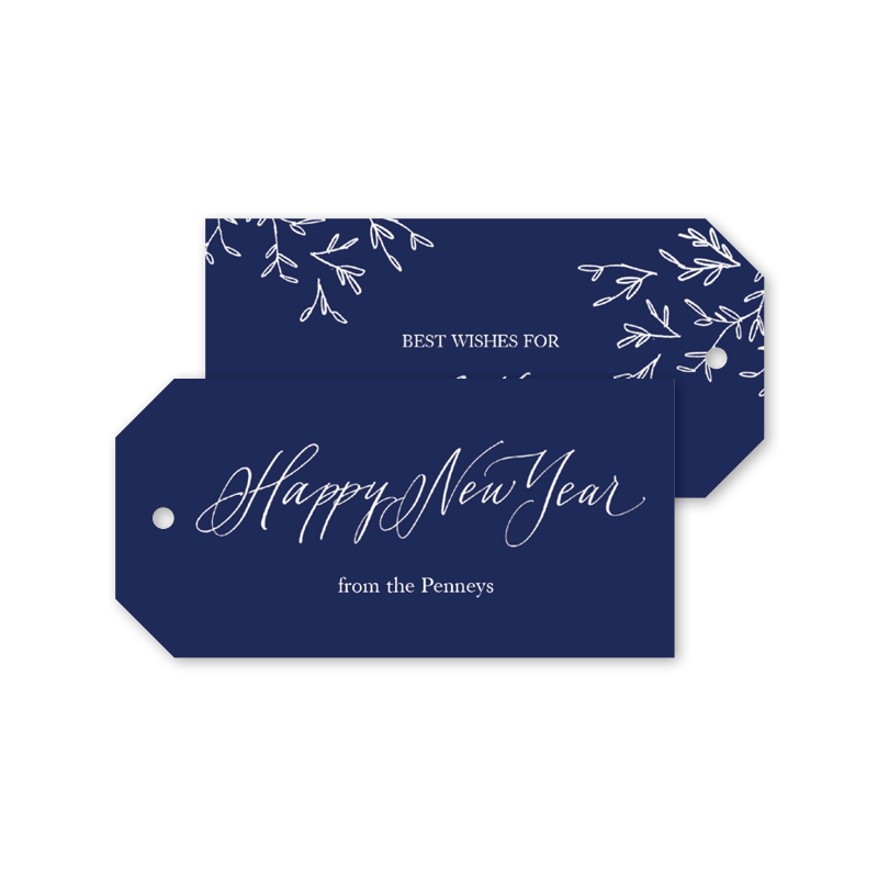 Happy New Year Sketch Gift Tags