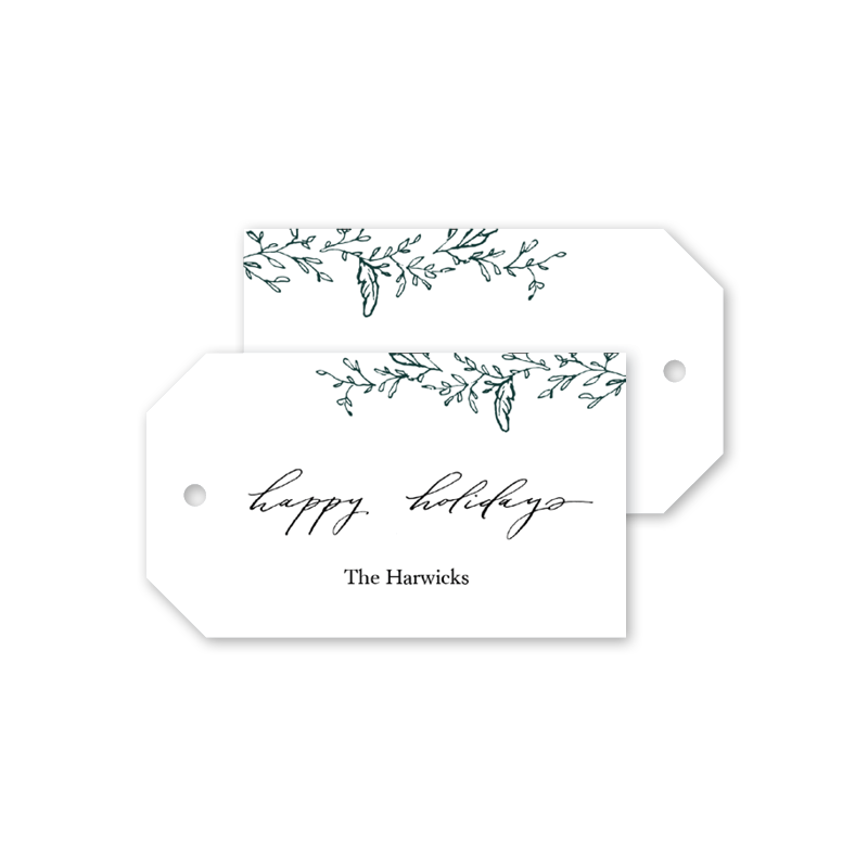 Wreath Happy Holidays Gift Tags