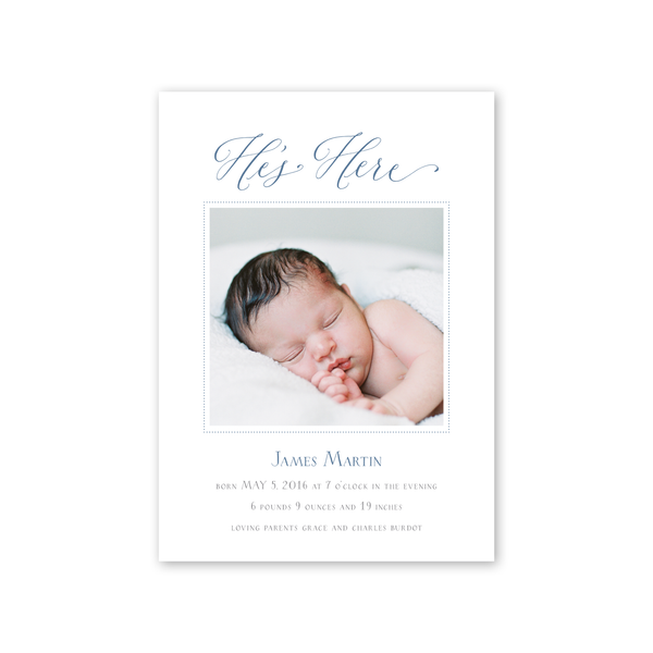 Baby Rattle Blue Birth Announcement