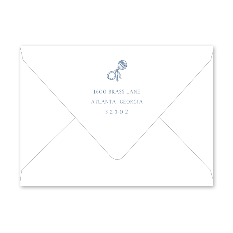 Baby Rattle Blue Birth Announcement Envelopes