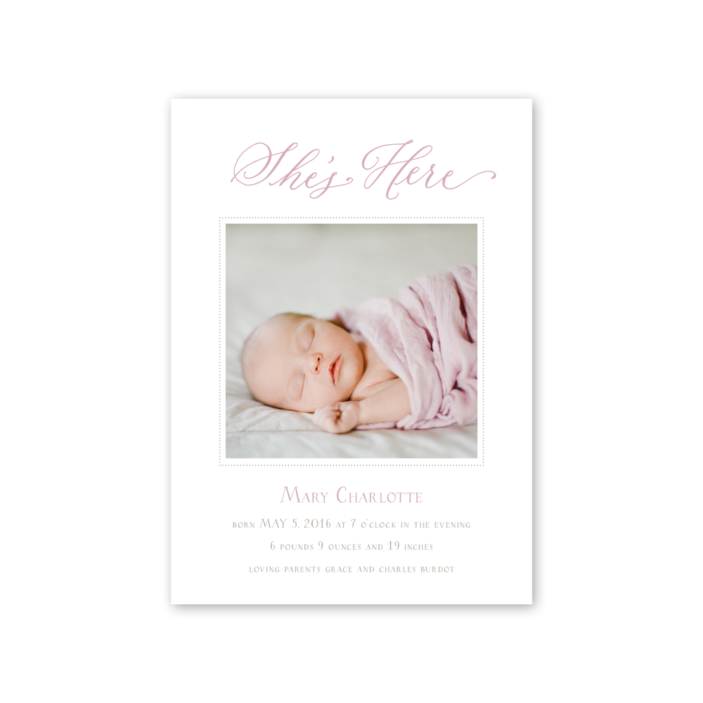 Baby Rattle Pink Birth Announcement