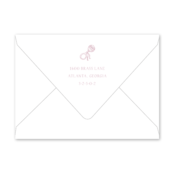 Baby Rattle Pink Birth Announcement Envelopes