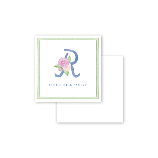 Alphabet Blooms Blue Calling Card