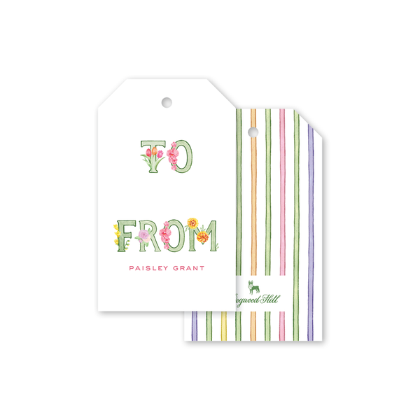 Alphabet Blooms Gift Tags