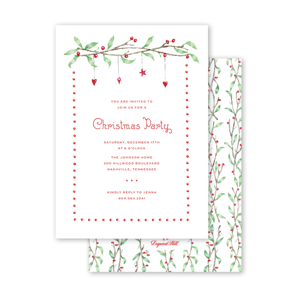 Berry Tinsel Invitation