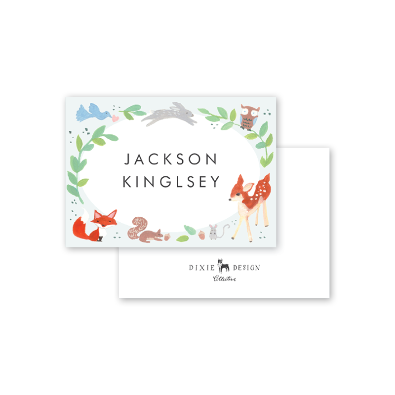 Animal Friends Blue Calling Card