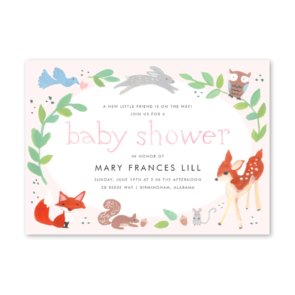 Unique baby shower invitation cards for boys and girls animal friends pink baby shower filmwisefo