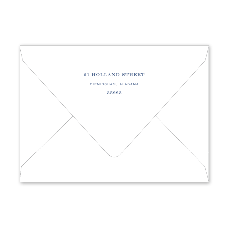 Botanical Crest Blue Dinner/Party Envelopes