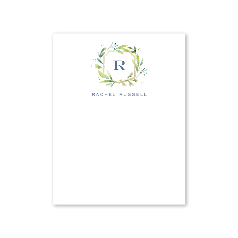 Botanical Crest Blue Notecard