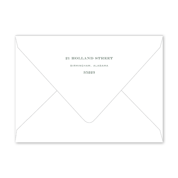 Botanical Crest Green Dinner/Party Envelopes