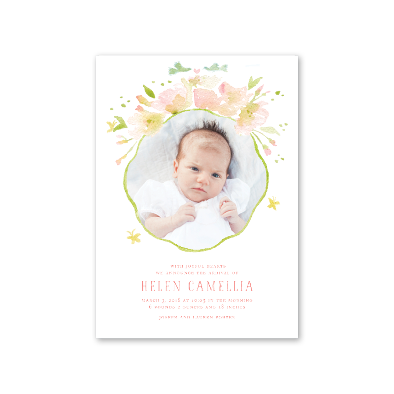 Pink Poppies Birth Announcement