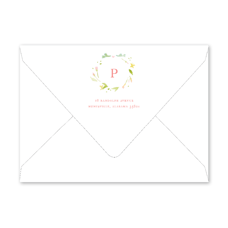 Pink Poppies Birth Announcement Envelopes
