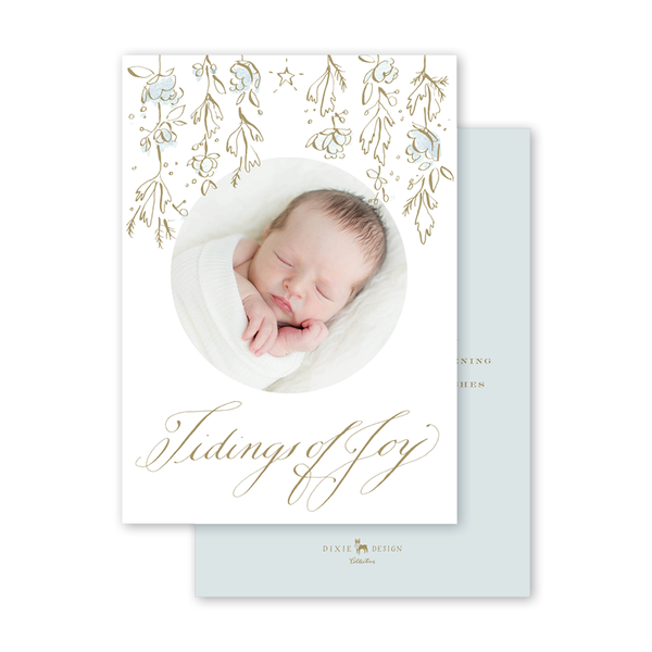 Candle and Camellias Blue Birth Announcement