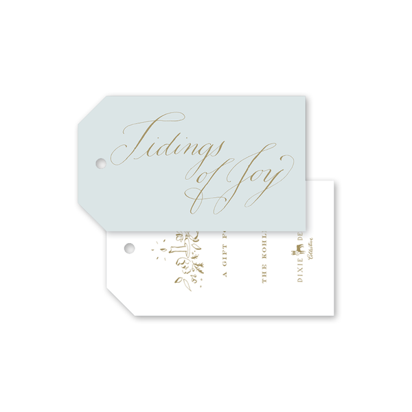 Candle and Camellias Blue Gift Tags