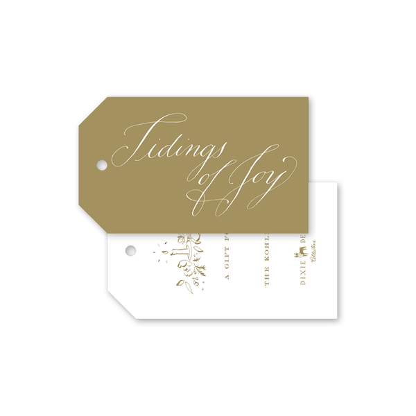 Candle and Camellias Gold Gift Tags