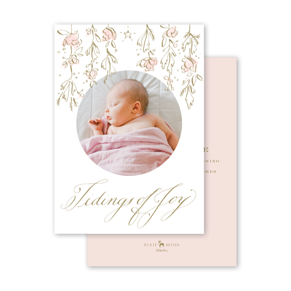 Candle and Camellias Pink Birth Announcement