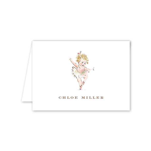 Ballerina Curls Folded Notecard