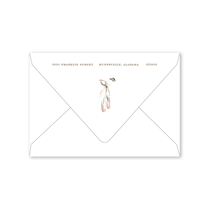 Ballerina Shoes Folded Notecard Envelopes