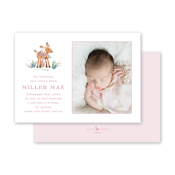 Watercolor Woodland Blush Birth Announcement